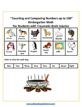 K -Counting and Comparing Numbers to 100 For Students w/Traumatic Brain Injuries