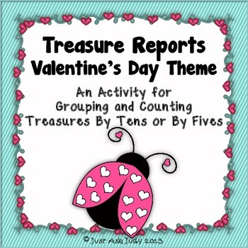 Valentine's Day FREE Counting and Grouping by 10's or 5's-Treasure Reports