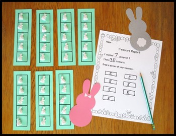 Counting and Grouping by Tens or Fives- Easter Themed Treasure Reports