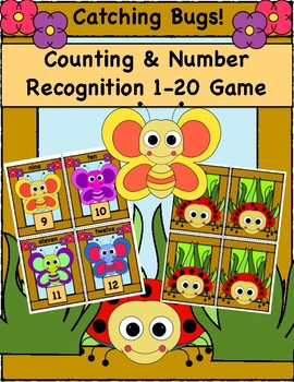 """Counting and Number Recognition 1-20 Game, """"Catching Bugs!"""""""