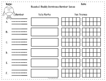 Number Sense Activity 7-18 Baseball Buddy Dominoes