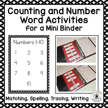 Numbers 1-10 Word Activities for a Mini Binder