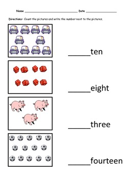 Counting and Number recognition 1-20