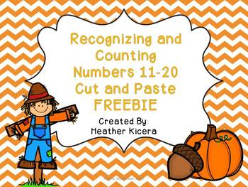 Counting and Recognizing numbers 11-20 cut and paste