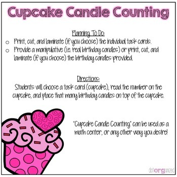 Counting to 20 Cupcake Manipulative Kindergarten February Math Center
