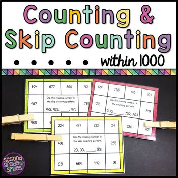Counting and Skip Counting Within 1000 Clip Cards