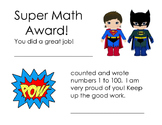 Counting and Writing 1 to 100 Award
