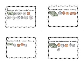 Counting and Writing Money Task Cards Grades 2-3
