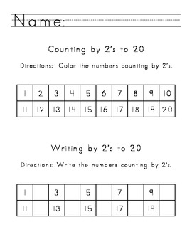 Counting and Writing by 2's Worksheets