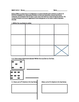 Counting and Writing with ten Assessment