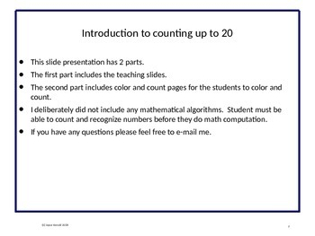 Counting and coloring up  to 20: Opening of School Edition