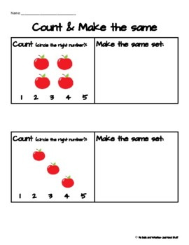 Counting and Making the Same Set- up to 10