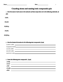 Counting atoms and naming ionic compounds quiz