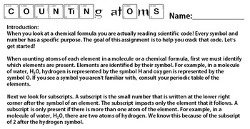 atoms & identifying elements worksheet 5 6 7 Texas TEKS 6.5A 6.5C 8.5D