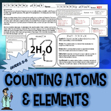 Counting atoms & identifying elements worksheet 5 6 7 Texas TEKS 6.5A 6.5C 8.5D