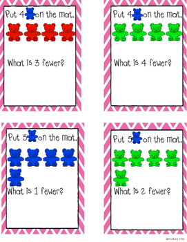 """Counting bears: """"Fewer"""" task cards"""