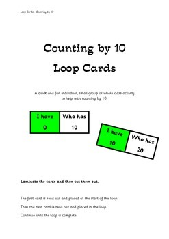 Counting by 10 - Loop Cards