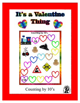 Counting by 10 Valentine Train Themed Work Sheet with Key ~ Fun with Math