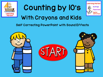 Counting by 10's with Crayons and Kids self correcting Interactive PowerPoint