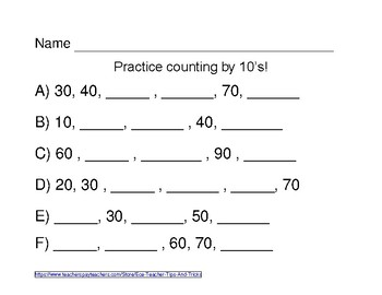 Counting by 10s 1-100 Worksheet