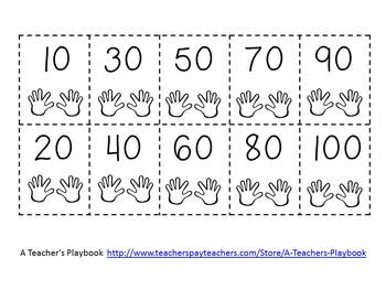 Counting by 10s Cut and Glue Number Line FREEBIE