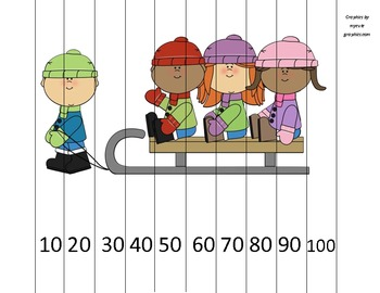 Counting by 10s Kids on Sled Math Puzzle