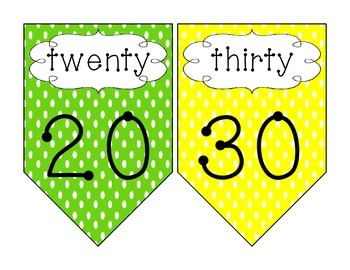 Counting by 10s Polka Dot Pennants