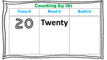 Counting by 10s Worksheets Using Base 10 Rods