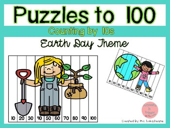 Counting by 10s to 100 Puzzles- Earth Day Theme