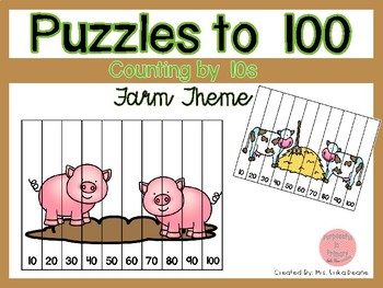 Counting by 10s to 100 Puzzles- Farm Theme