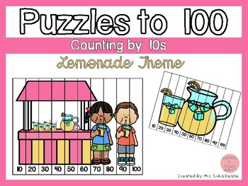 Counting by 10s to 100 Puzzles- Lemonade Theme