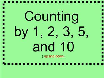Counting by 1,2, 3, 5, 10 - Up and Down - Smartboard