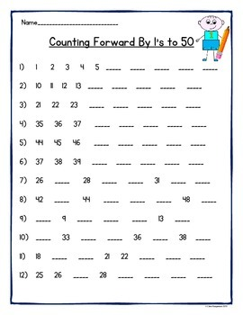 counting by 1s 2s 3s 4s 5s and 10s to 50 and