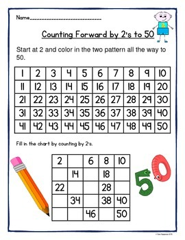 Counting by 1's, 2's, 3's, 4's, 5's, and 10's to 50 and 100 Worksheets