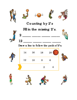 Counting by 2's Numbers Up to 20 Basketball Fun-Stuff Mental Math Worksheet 1pg
