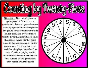 Counting by 25s Spinner Game