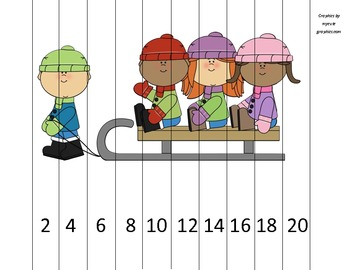 Counting by 2s Kids on Sled Math Puzzle