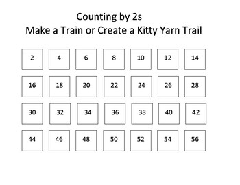 Counting by 2s:  Make a Train or Create a Kitty Yarn Trail