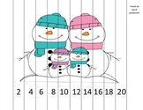 Counting by 2s Snowman Family Math Puzzle
