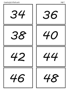 Counting by 2's flash cards 2-48 pages 3