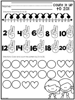Counting by 2's {to 20}  Practice Sheets