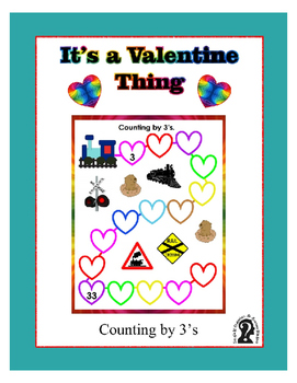 Counting by 3's Work Sheet ~ Cute Train Sheet for Valentine's Day