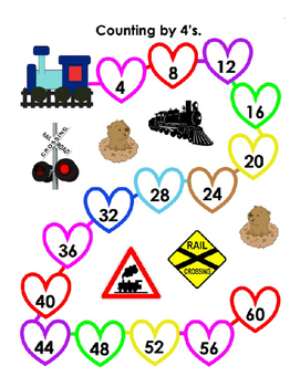 Counting by 4 for Valentine's Day ~ One Work Sheet with Key ~ Kindergarten Fun