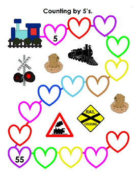 Counting by 5 for Valentines Day ~ Train Theme ~ Kindergarten ~ One Work Sheet