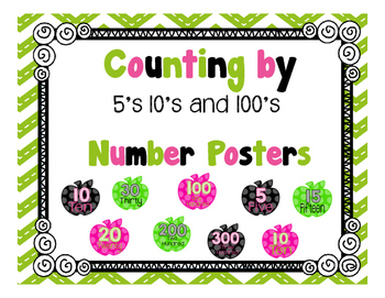 Counting by 5's, 10's, and 100's Apple Posters