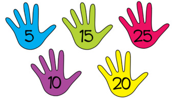 Counting by 5's hands to 150 - editable PPT and PDF