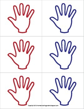 Skip counting by 5's with hand prints