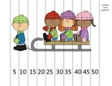 Counting by 5s Kids on Sled Math Puzzle