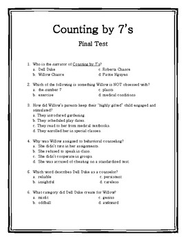 Counting by 7's Final Test