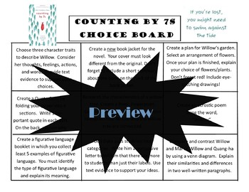 Counting by 7s Choice Board Tic Tac Toe Novel Study Activities Menu Book Project